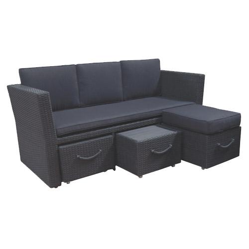 Image of   3-pers. havesofa med integreret bord og fodskammel - Bella