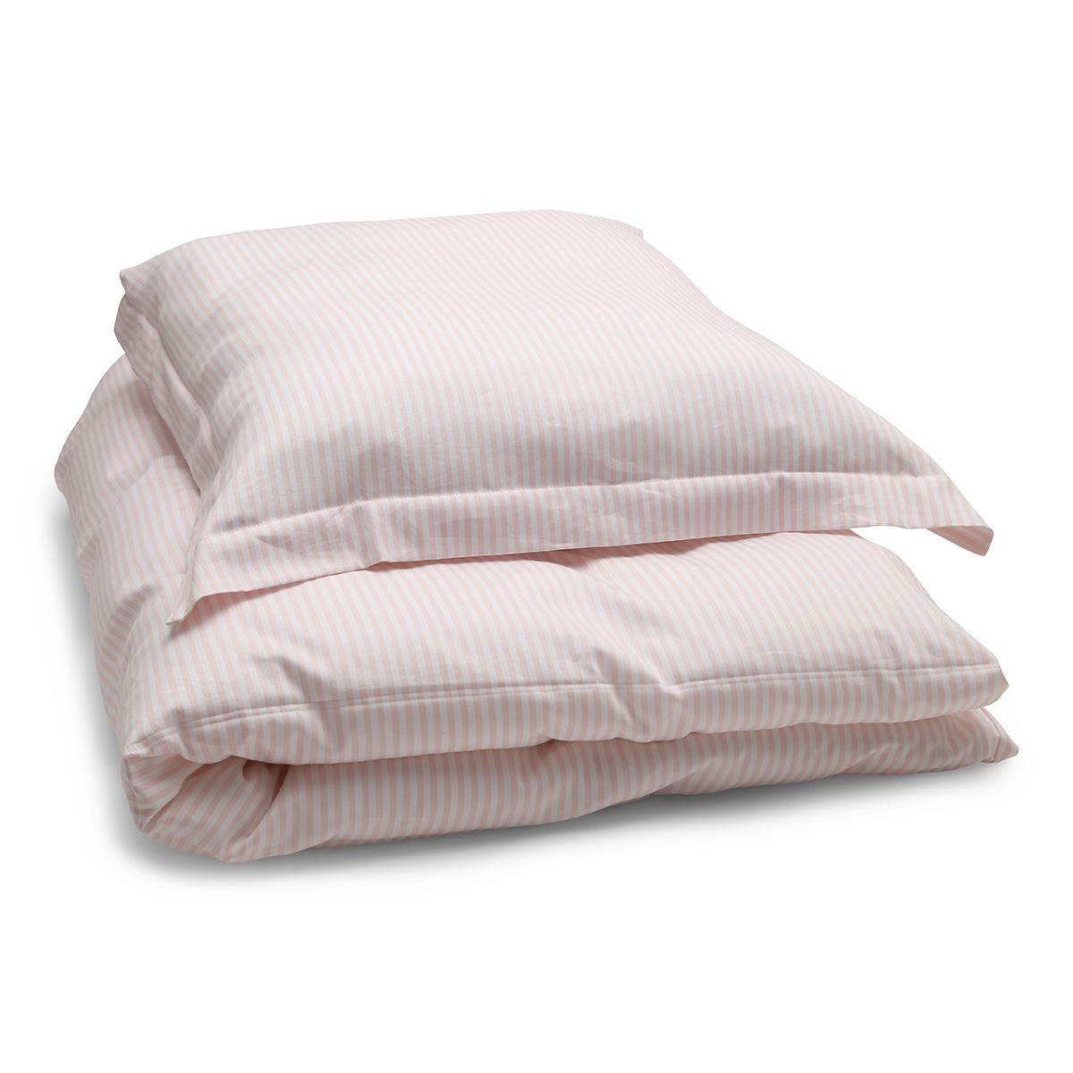 Image of   Änglamark sengetøj - Lyserøde og hvide striber