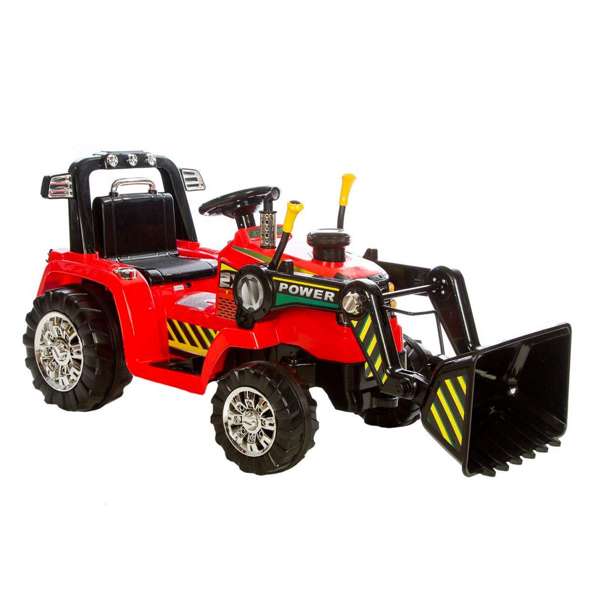 Image of   Azeno elbil - Traktor med skovl - Rød