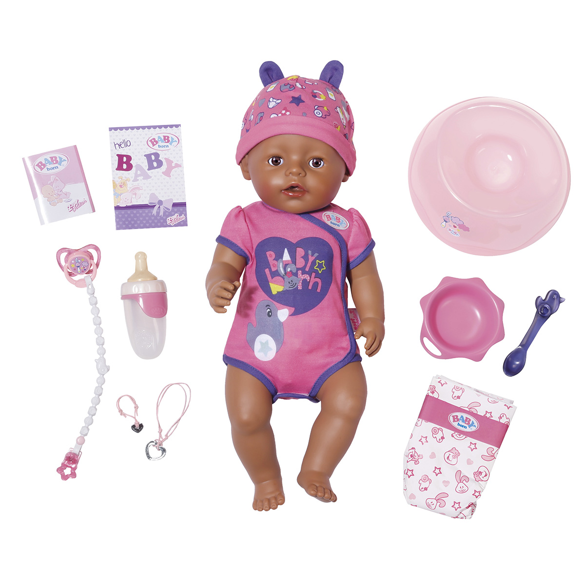 Image of   Baby Born interaktiv dukke - Pige med brune øjne