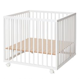 Babynor kravlegård med hjul - Una - Hvid