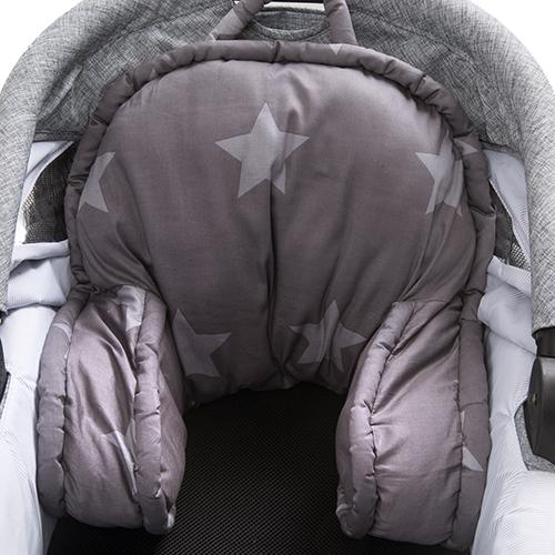 Billede af BabyTrold barnevognspude - Star - Grå