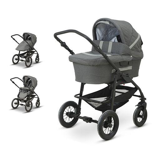 babytrold kombivogn supreme grå denim barnevogn og klapvogn i eet med  drejelige for. 18fb9a25482de