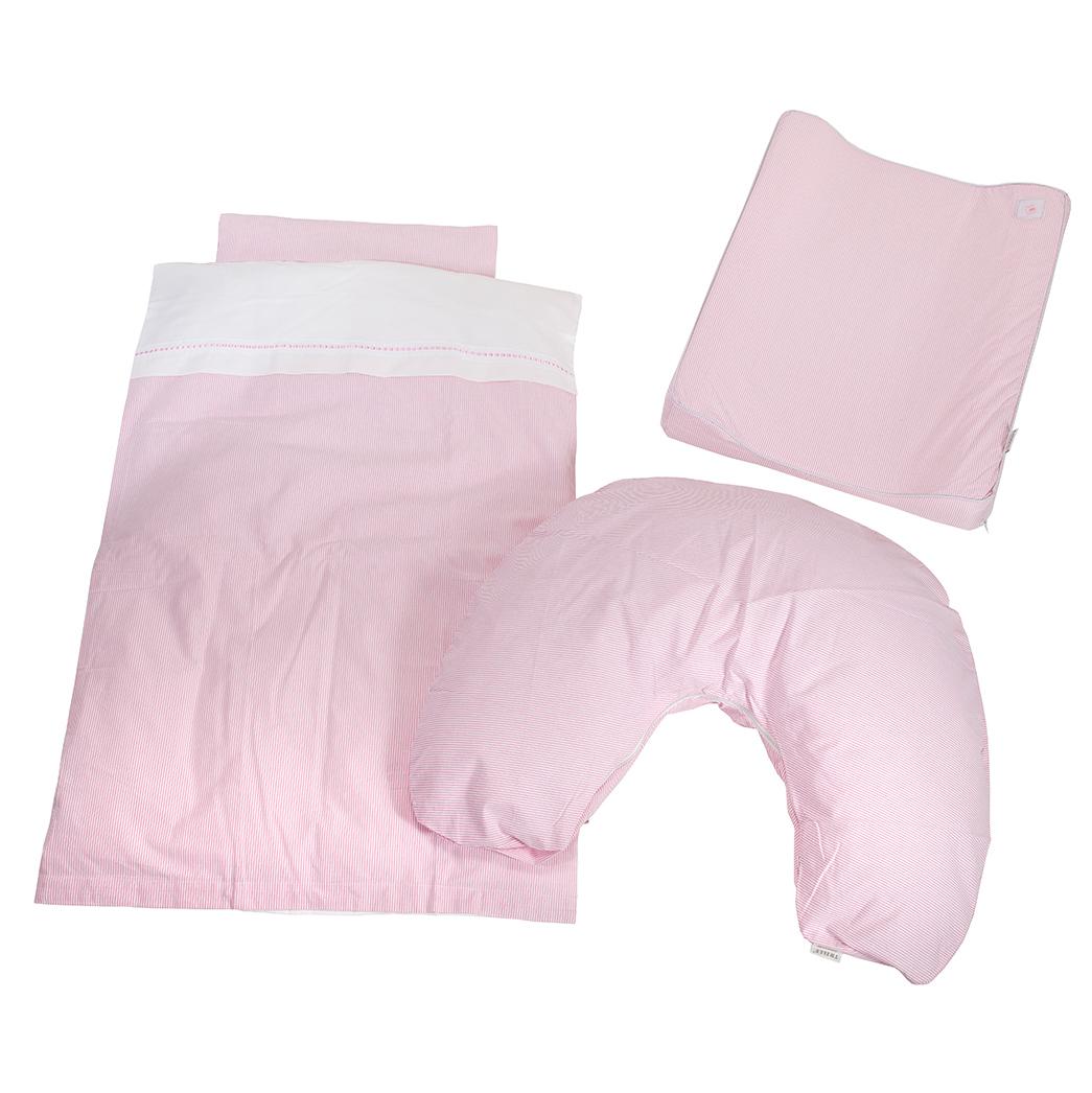 Image of   BabyTrold tekstilpakke - Strib - Lyserød