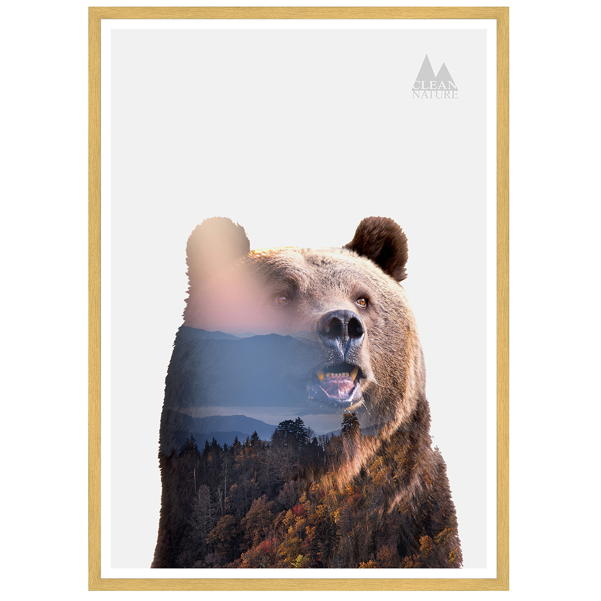 Image of   Bear plakat i ramme - Clean Nature