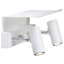 Belid dobbelt væglampe med hylde - Cato - Hvid