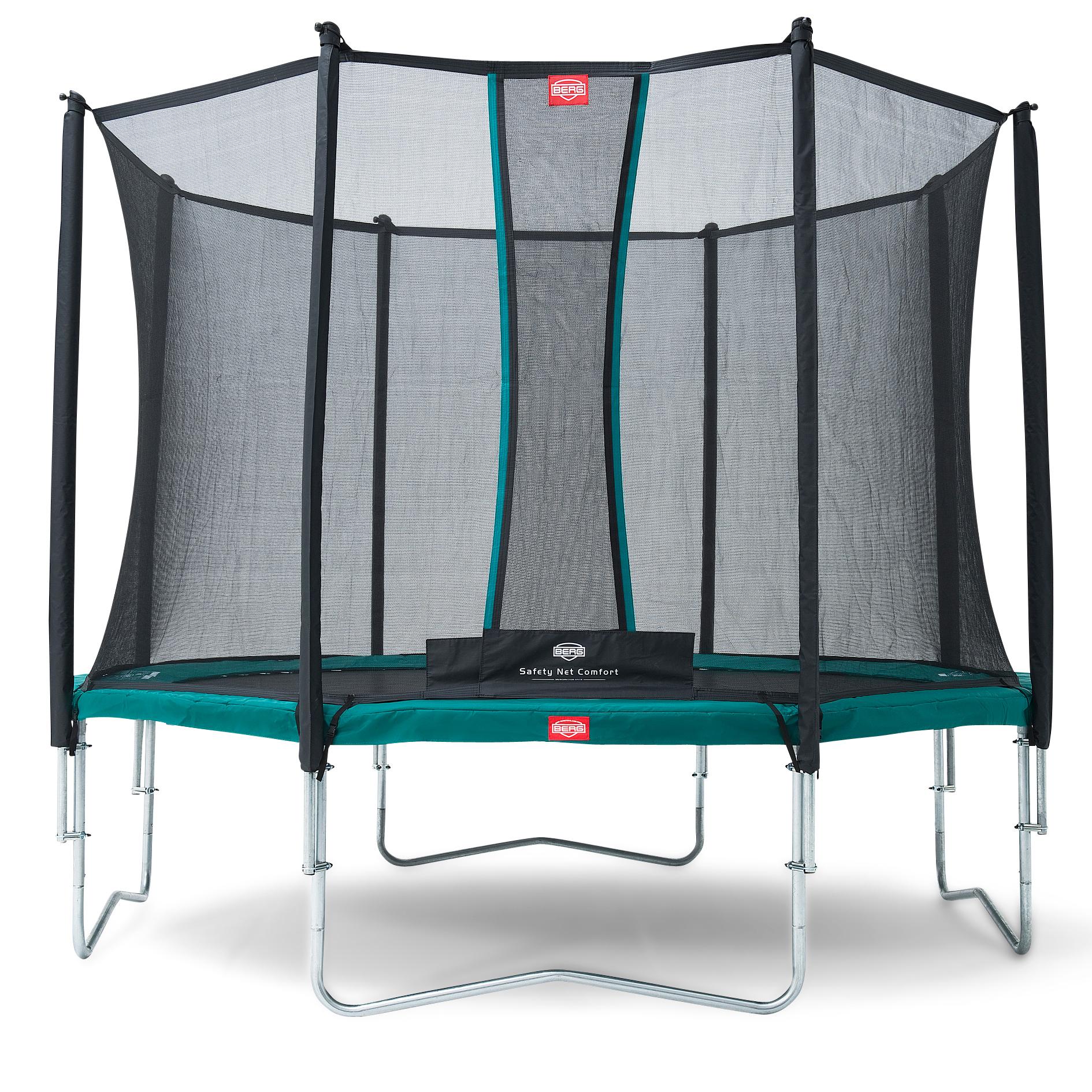 Berg trampolin med net - Favorit - Ø 380 cm - Grøn