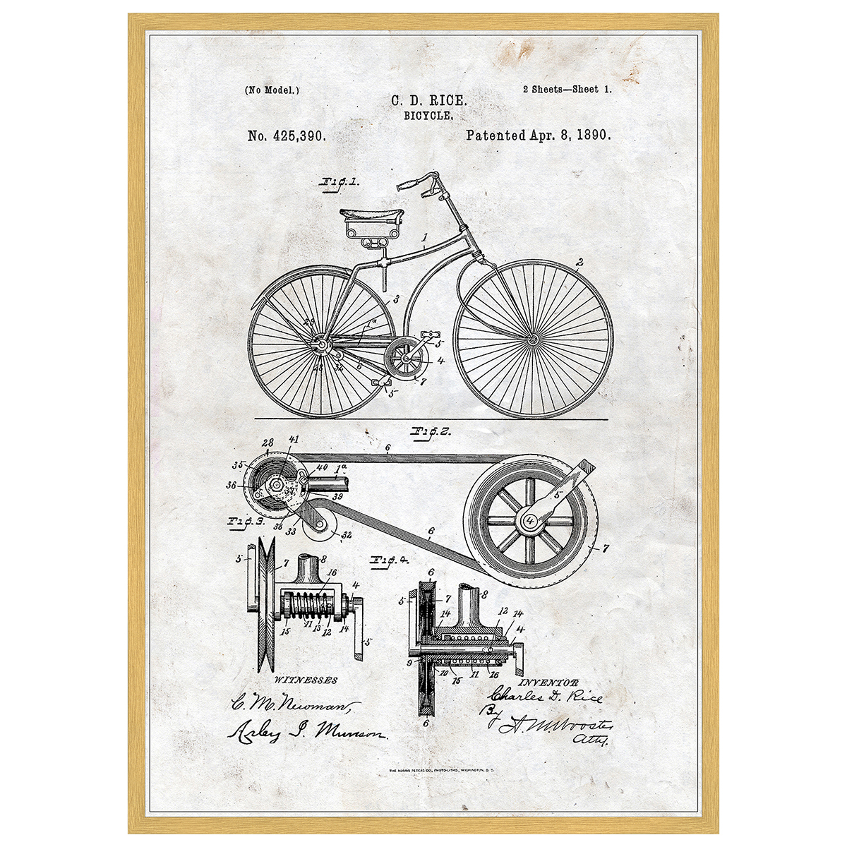 Image of   Bicycle plakat i ramme - Patent