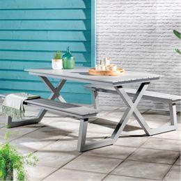 Bord- og bænkesæt - Lys grå