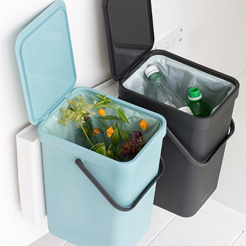 Brabantia affaldsspand - Sort & Go - Grå og Mint 2 x 16 liter ...