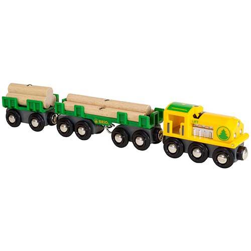 Image of   Brio lokomotiv med vogne og tømmer