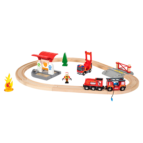 Image of   BRIO togsæt med brandmandstema