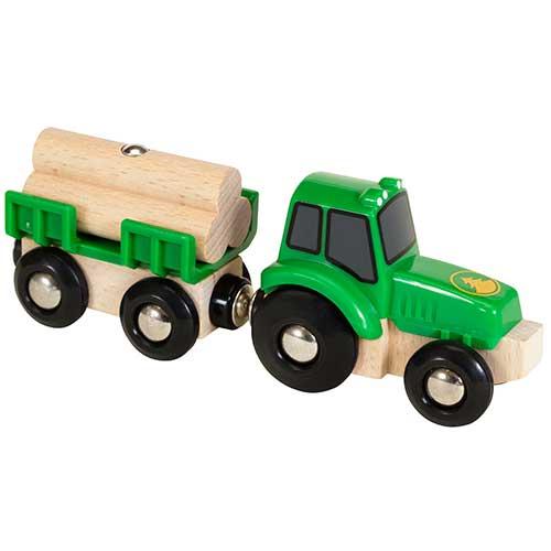 Image of   BRIO traktor med vogn og tømmer