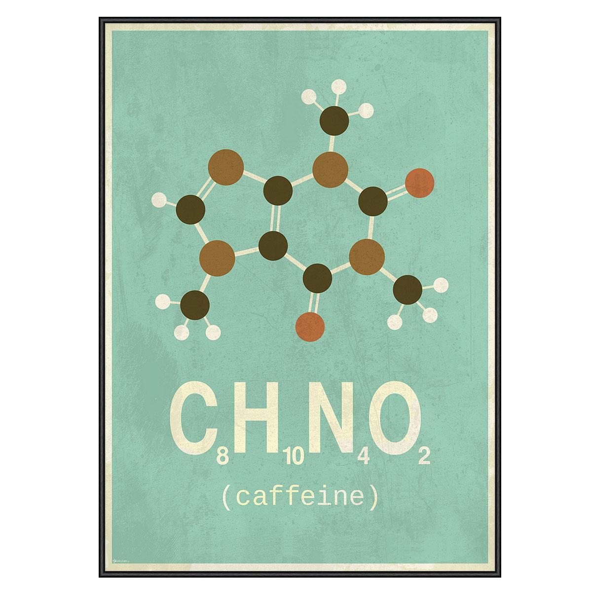 Image of   Caffeine plakat i ramme - Molekylen.dk