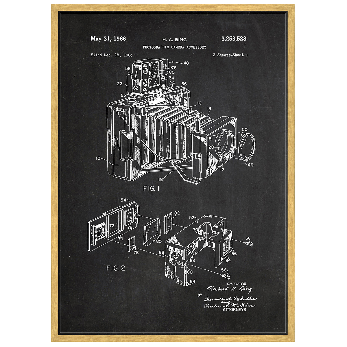 Image of   Camera plakat i ramme - Patent