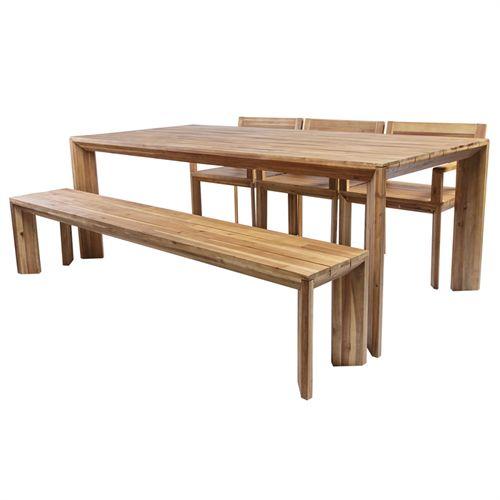 Ultramoderne Coop havemøbelsæt - Vega L - Natur Havebord, 4 stole og bænk i YE-46