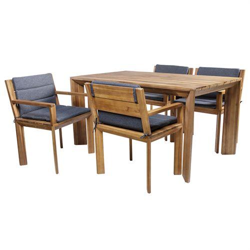 Fabriksnye Coop havemøbelsæt - Vega M - Natur Havebord og 4 stole i akacietræ NW-52