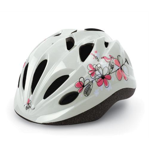 Cykelhjelm til børn - Hvid med blomstermotiv