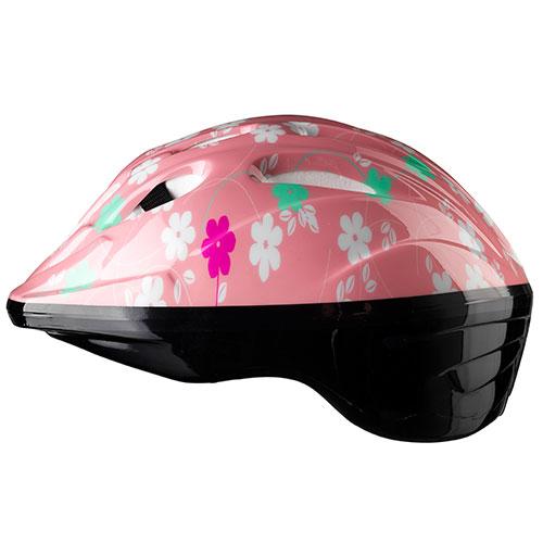 Image of   Cykelhjelm til børn - Lyserød med blomster - S