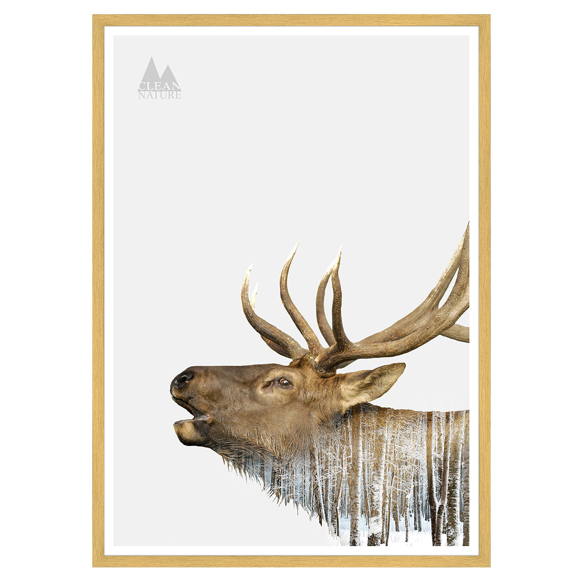 Image of   Deer plakat i ramme - Clean Nature