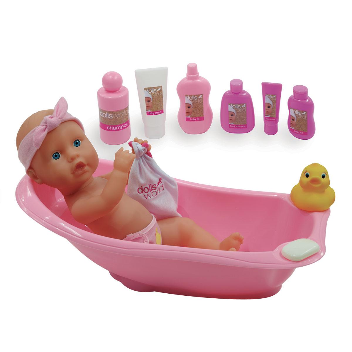 Image of   Dolls World dukke med badekar - Bathtime