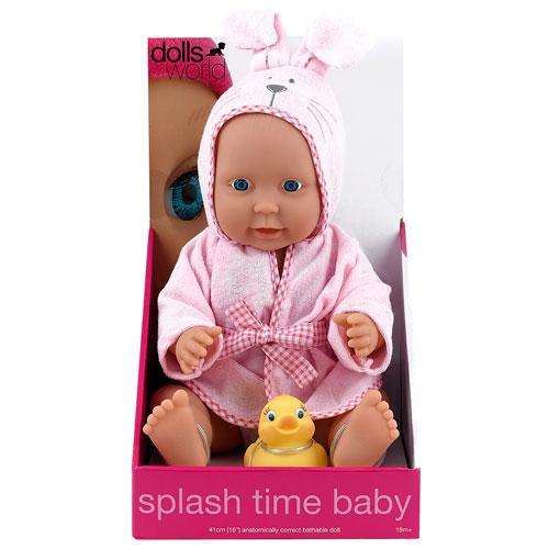 Image of   Dolls World dukke - Splash Time Baby - Lyserød