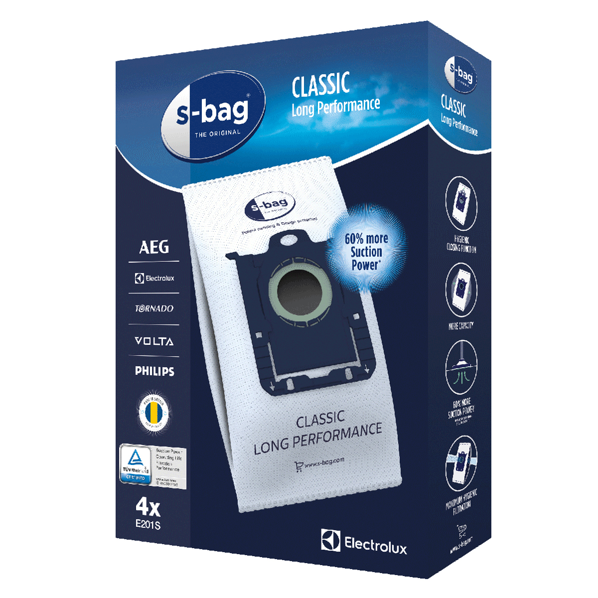 Electrolux støvsugerposer - 4 stk.  s-bag Classic Long Performance (3,5 liter)