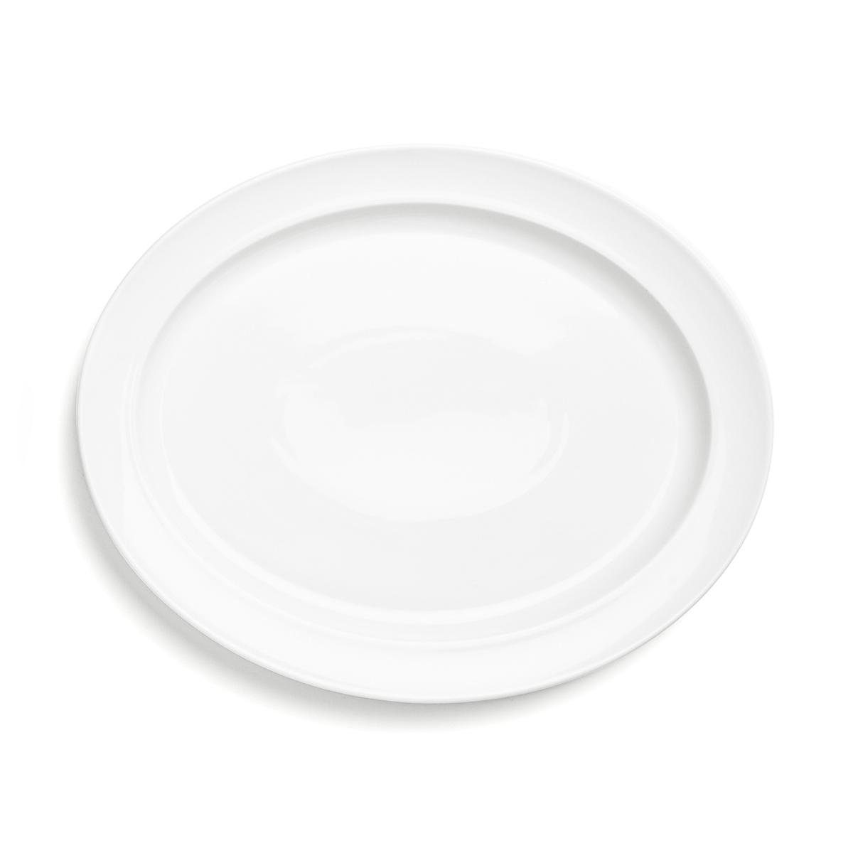 Billede af Enkel serveringsfad - Hvidpot - L 33 x B 26 cm