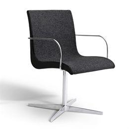 Image of   Erik Bagger stol med armlæn - Curves Chair One - Krom/mørkegrå