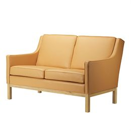 Erik Wørts 2 pers. sofa - L601-2 - Eg/camelfarvet læder