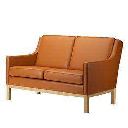 Erik Wørts 2 pers. sofa - L601-2 - Eg/cognacfarvet læder