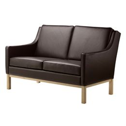 Erik Wørts 2 pers. sofa - L601-2 - Eg/mørkebrunt læder