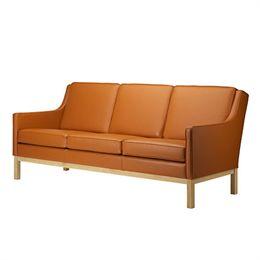 Erik Wørts 3 pers. sofa - L601-3 - Eg/cognacfarvet læder