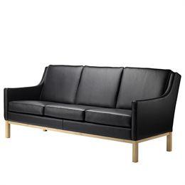 Erik Wørts 3 pers. sofa - L601-3 - Eg/sort læder