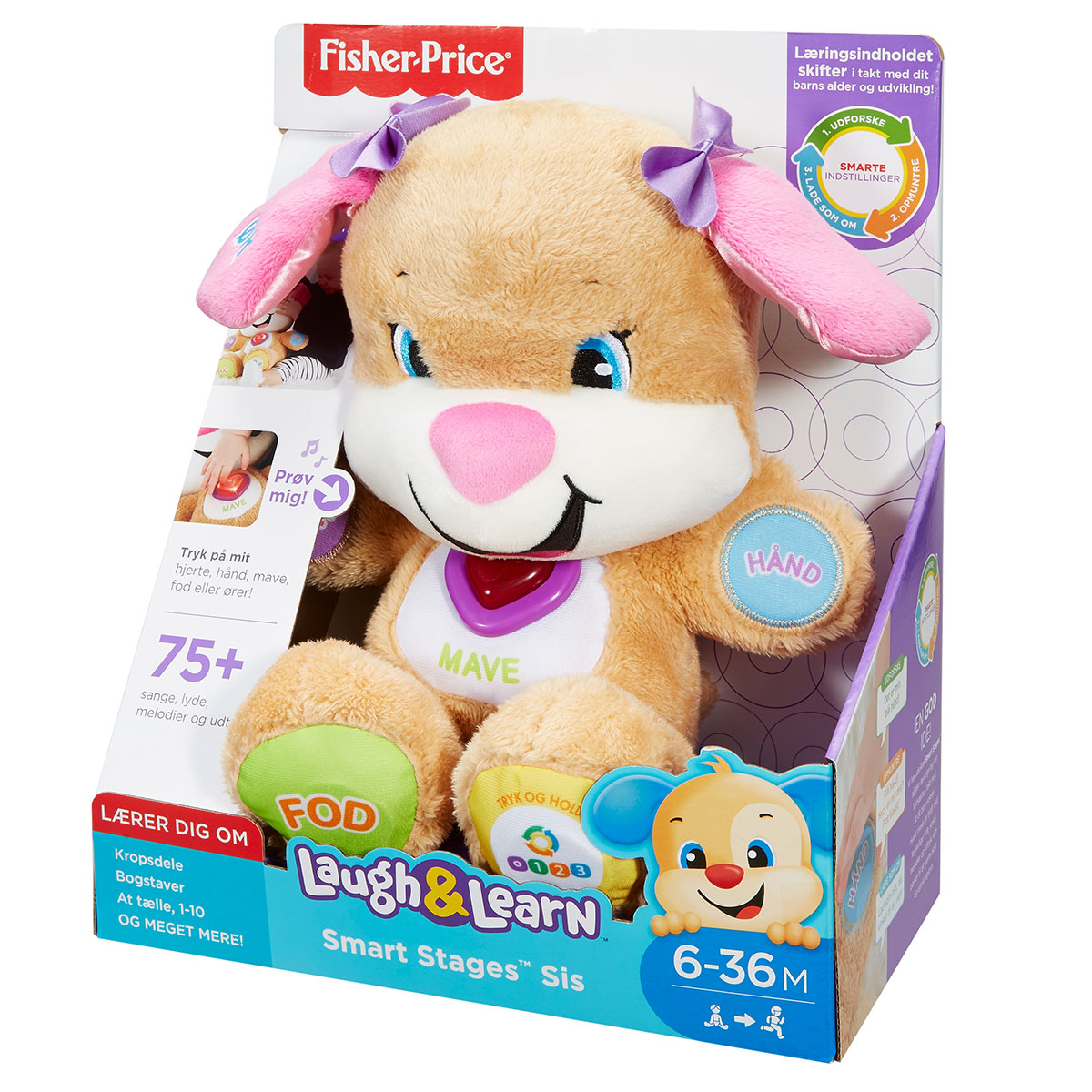 Image of   Fisher-Price aktivitetsbamse - Smart Stages Puppy - Lyserød
