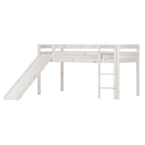 Image of   Flexa Basic halvhøj seng med rutsjebane - Hvidpigmenteret