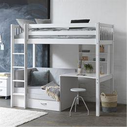 Flexa Basic høj børneseng med skrivebord og sofa/chaiselong - Nordic