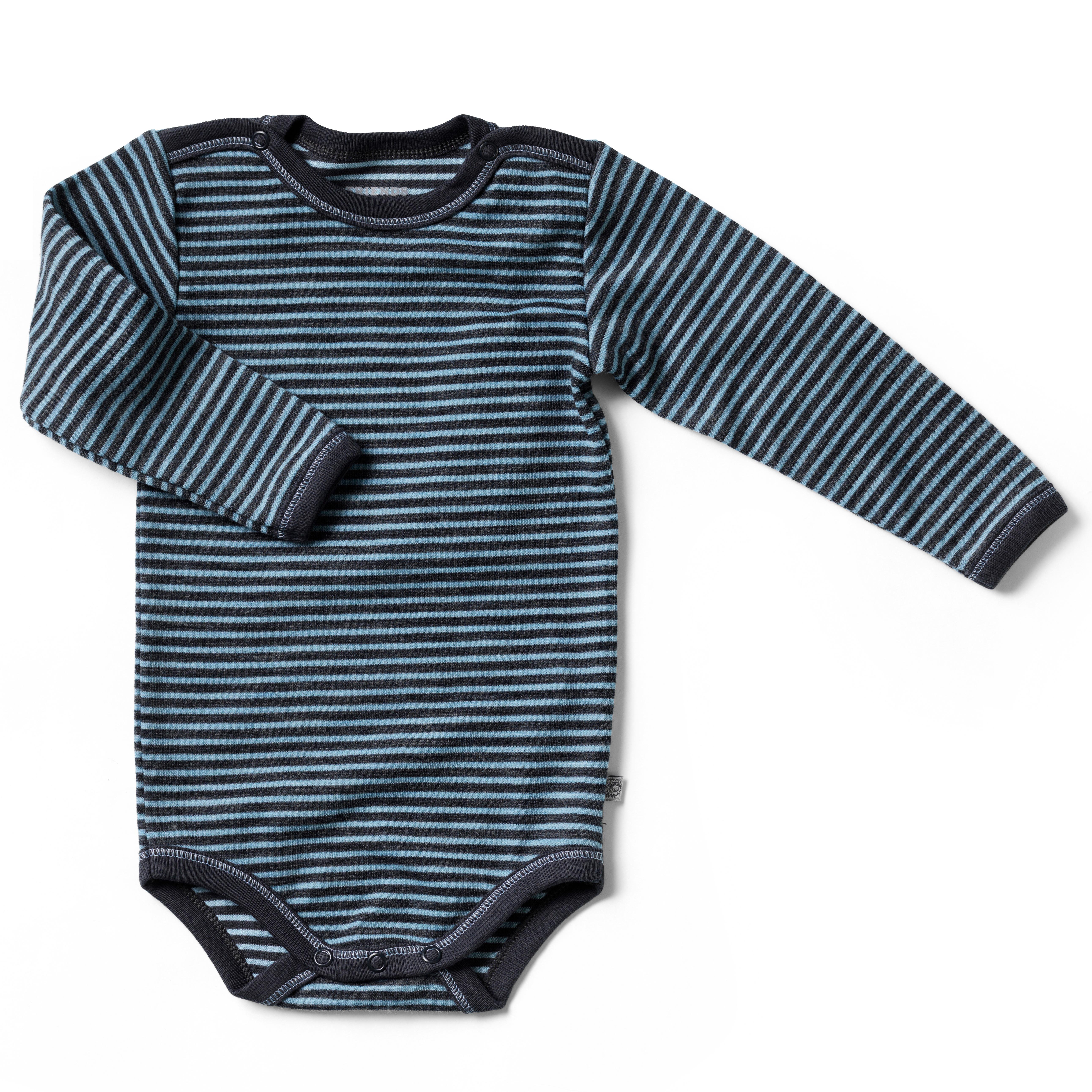 Image of   Friends langærmet body - Blå med tynde striber
