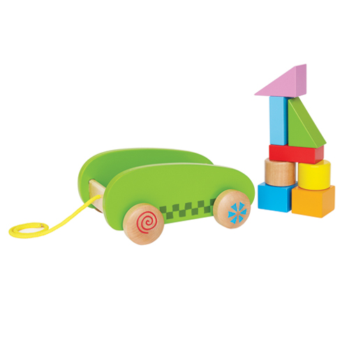 Image of   Hape vogn med klodser - Mini Block & Roll