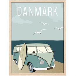 Image of   Hoei Denmark plakat i ramme - Retrobus