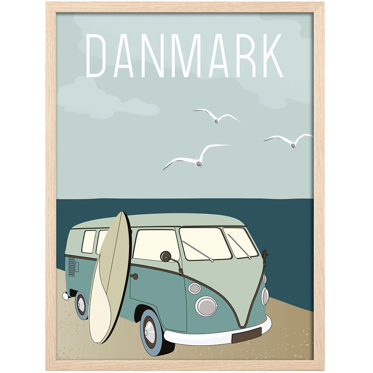 Image of   Hoi Denmark plakat i ramme - Retrobus