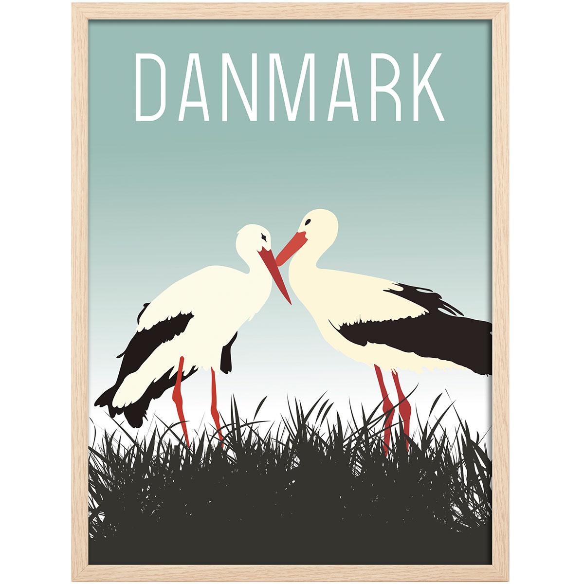 Image of   Hoi Denmark plakat i ramme - Stork