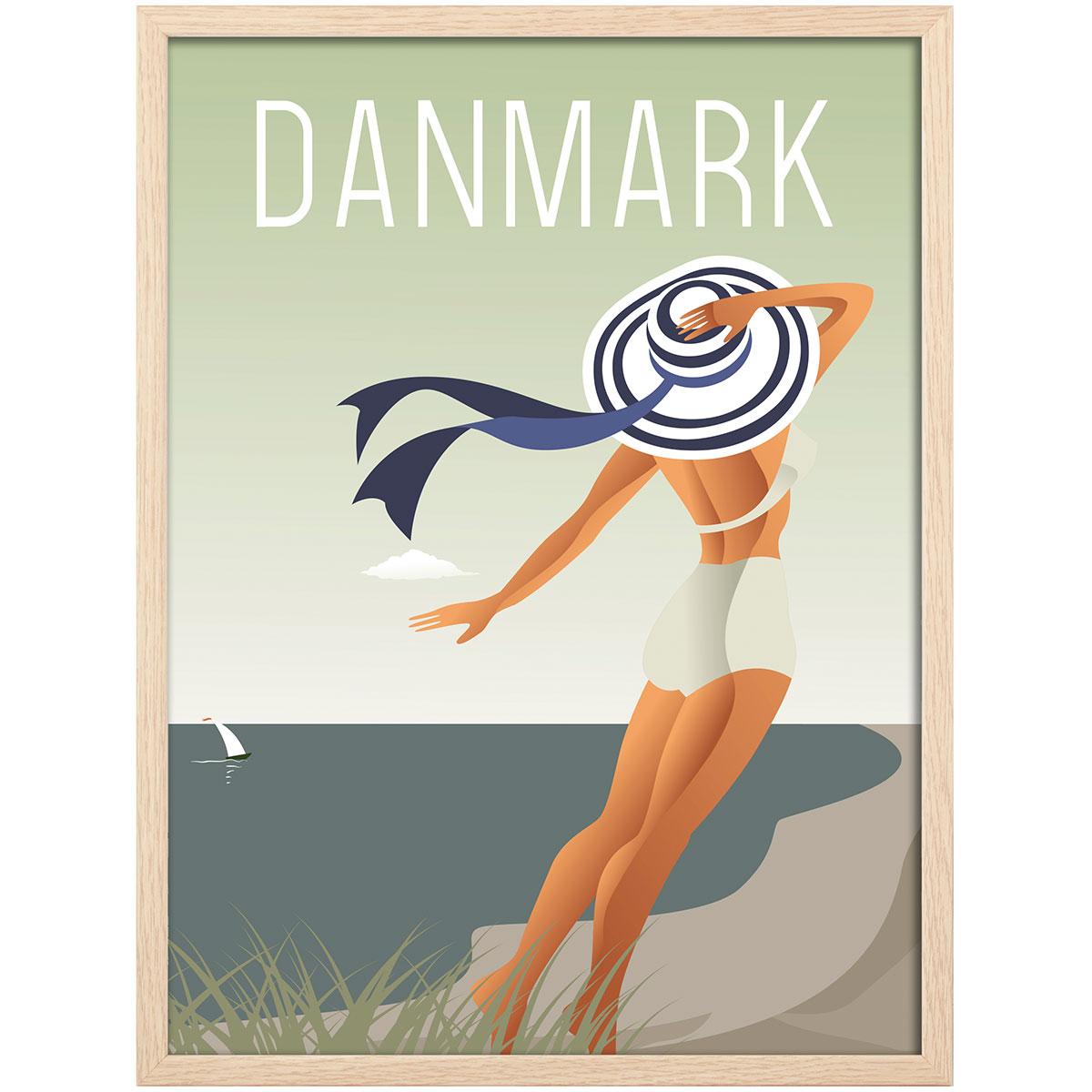 Image of   Hoi Denmark plakat i ramme - Strand