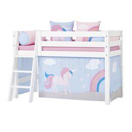 Image of   Hoppekids halvhøj juniorseng - Premium - Hvid med Unicorn