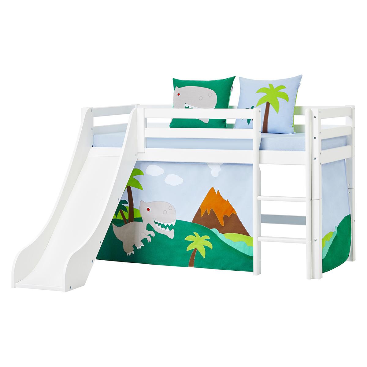 Billede af Hoppekids halvhøj seng med rutsjebane - Basic - Hvid med Dinosaur