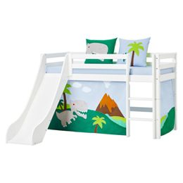Image of   Hoppekids halvhøj seng med rutsjebane - Basic - Hvid med Dinosaur