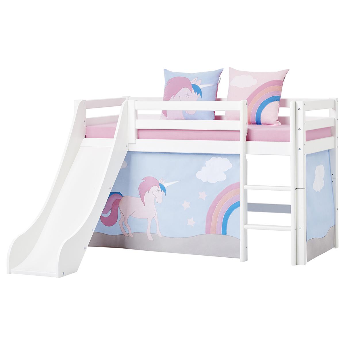 Billede af Hoppekids halvhøj seng med rutsjebane - Basic - Hvid med Unicorn