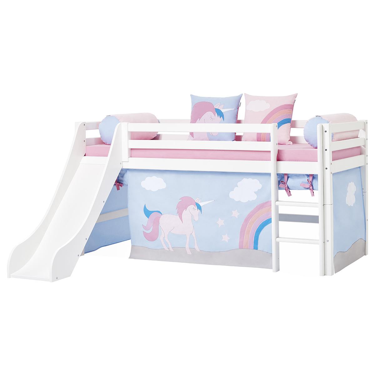 Hoppekids halvhøj seng med rutsjebane - Basic - Hvid med Unicorn