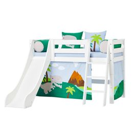 Image of   Hoppekids halvhøj seng med rutsjebane - Premium - Hvid med Dinosaur