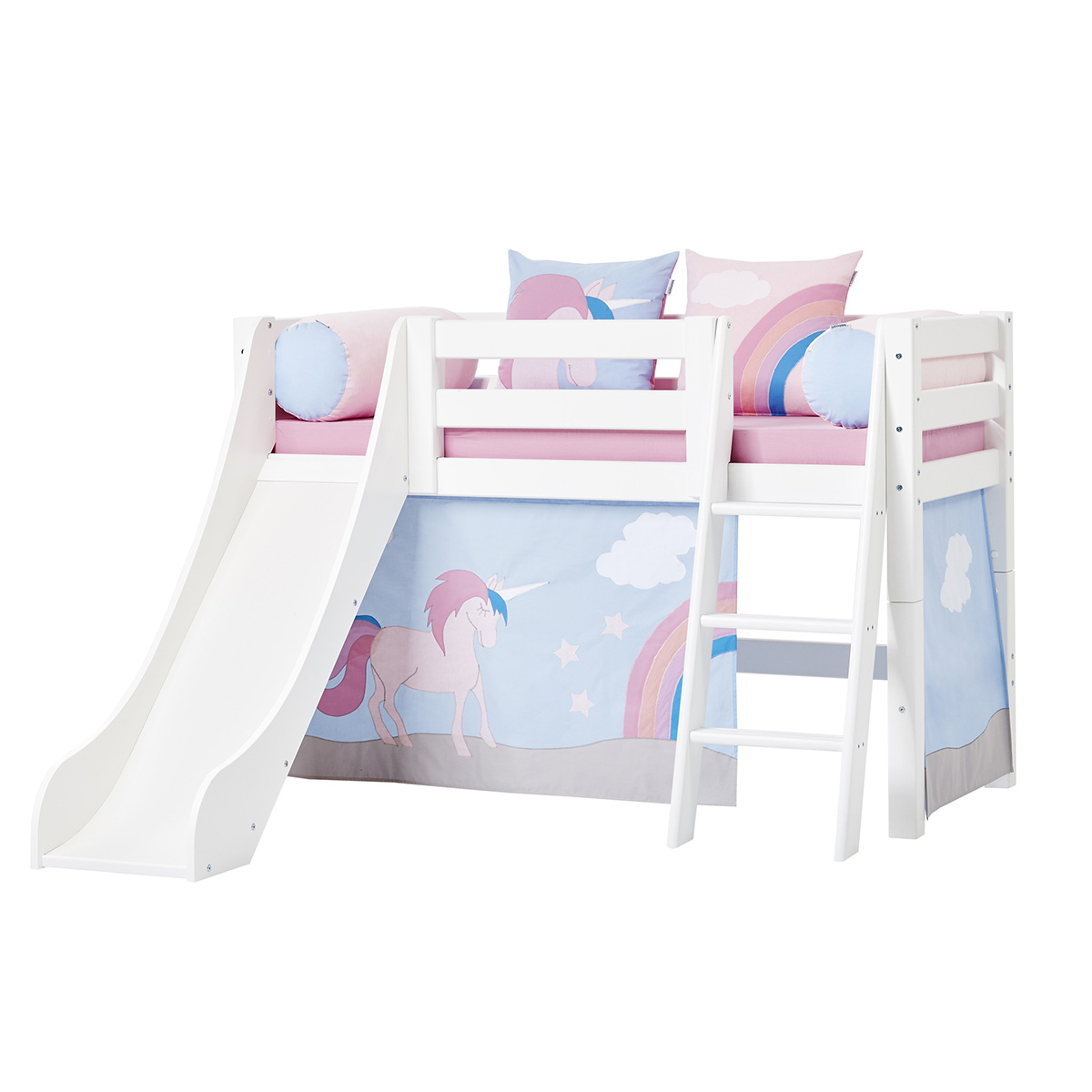Billede af Hoppekids halvhøj seng med rutsjebane - Premium - Hvid med Unicorn